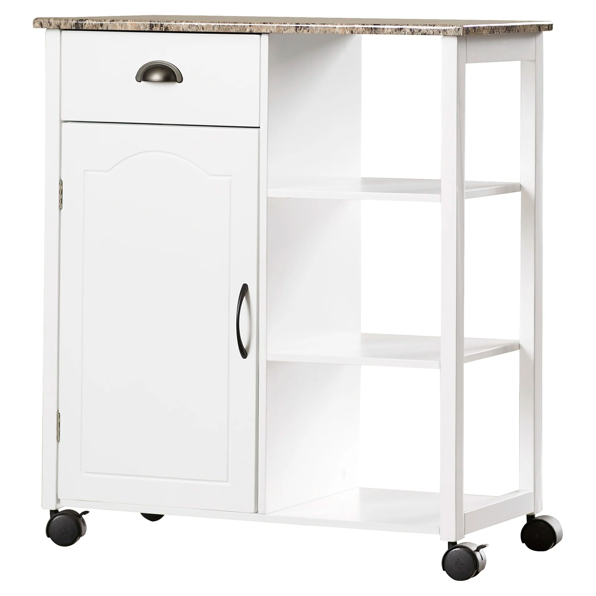 marble top kitchen cart island posts andover mills irma with and reviews