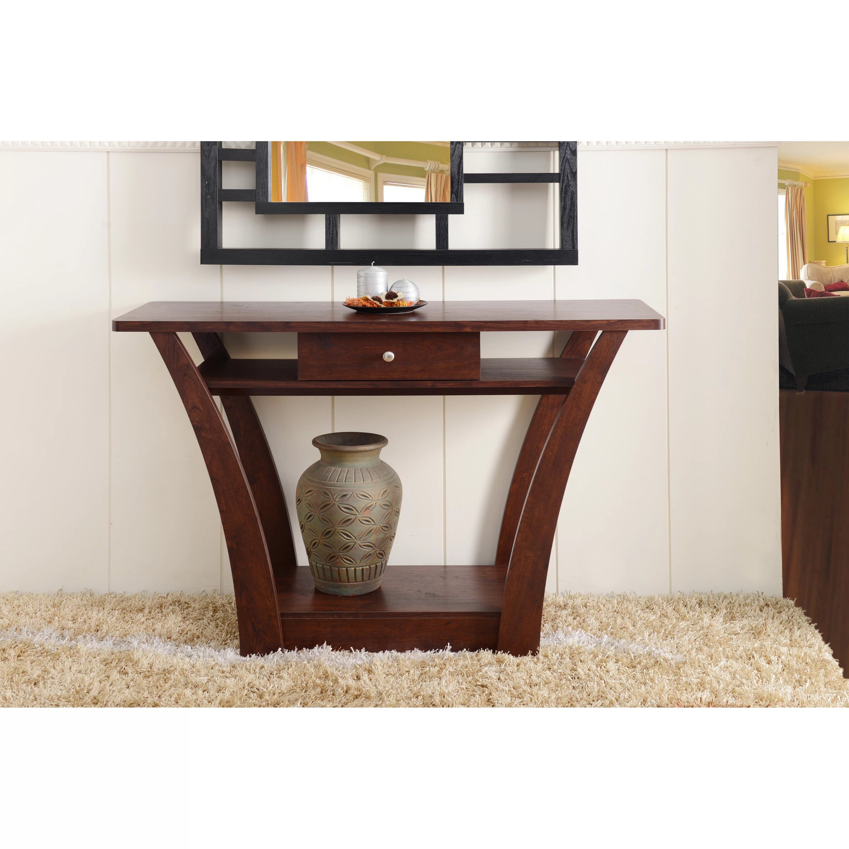 wayfair furniture sofa tables vintage brown leather 2 seater andover mills farrwood console table and reviews