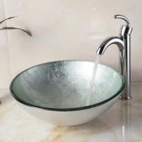Elite Hand Painted Foil Round Bowl Vessel Bathroom Sink ...