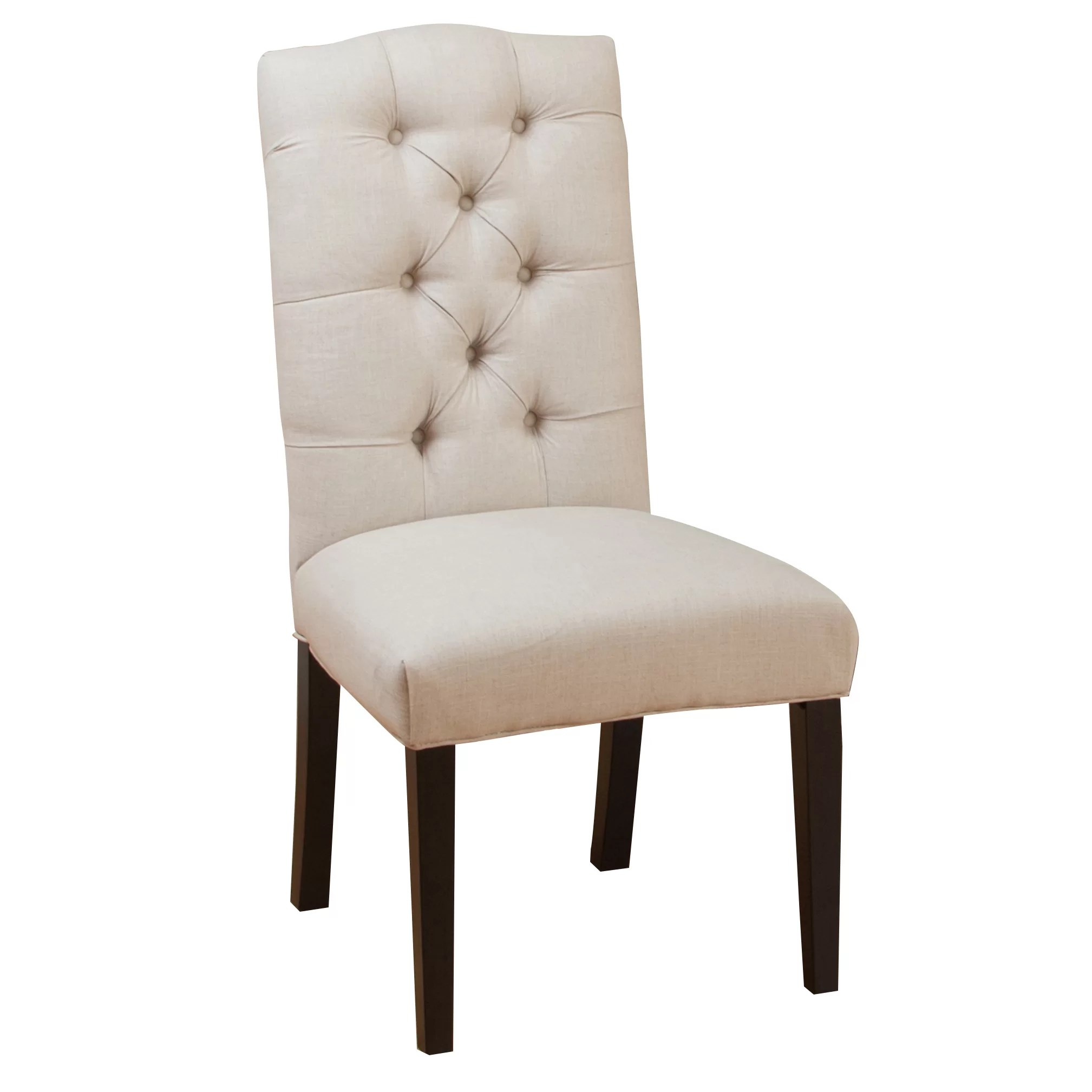 Three Posts Tufted Linen Side Chairs  Reviews  Wayfair