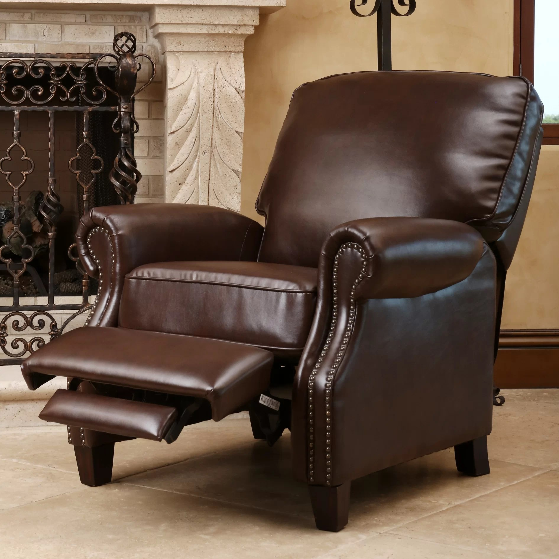 Push Back Chair Three Posts Wheatland Push Back Leather Recliner And Reviews