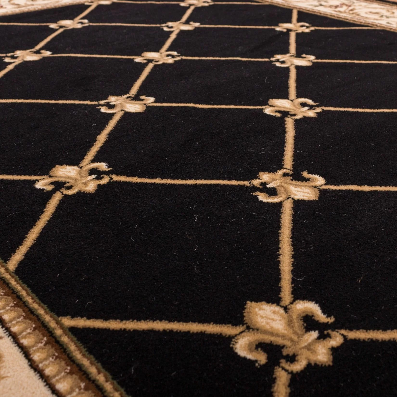 chicken kitchen rugs 27 inch sink well woven timeless fleur de lis black area rug & reviews ...