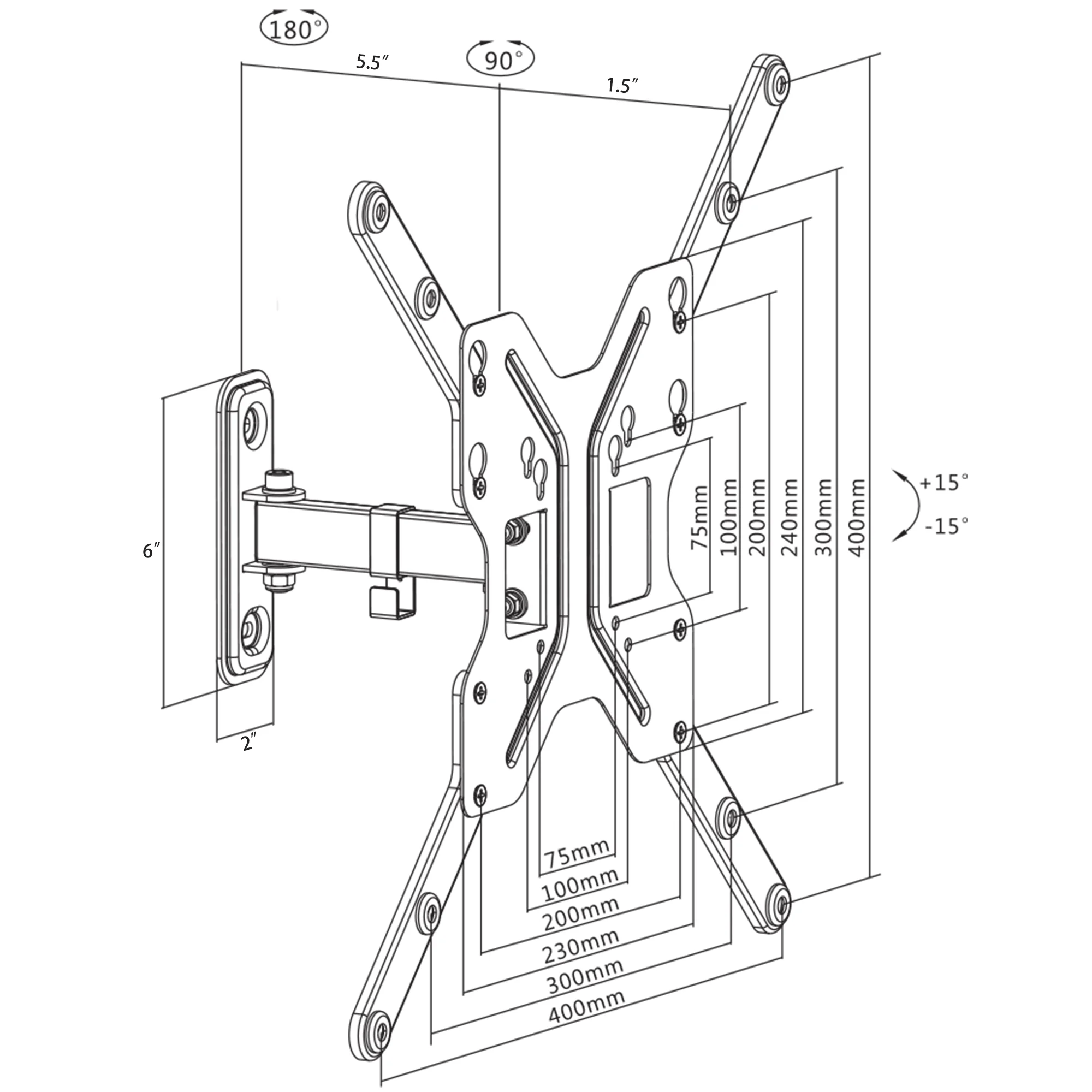 """VIvo Fully Articulating VESA Stand Wall Mount for 23"""" to"""