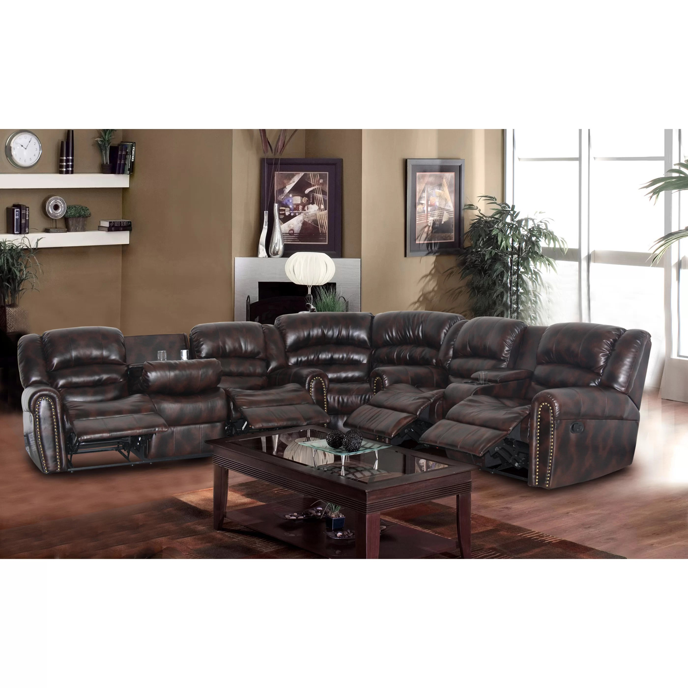nora brown leather reclining 3 pc living room sofa set dark grey styling beverly fine furniture sophy sectional and reviews wayfair