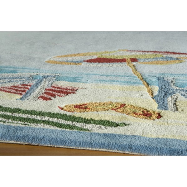 Momeni Coastal Beach Handmade Blue Area Rug