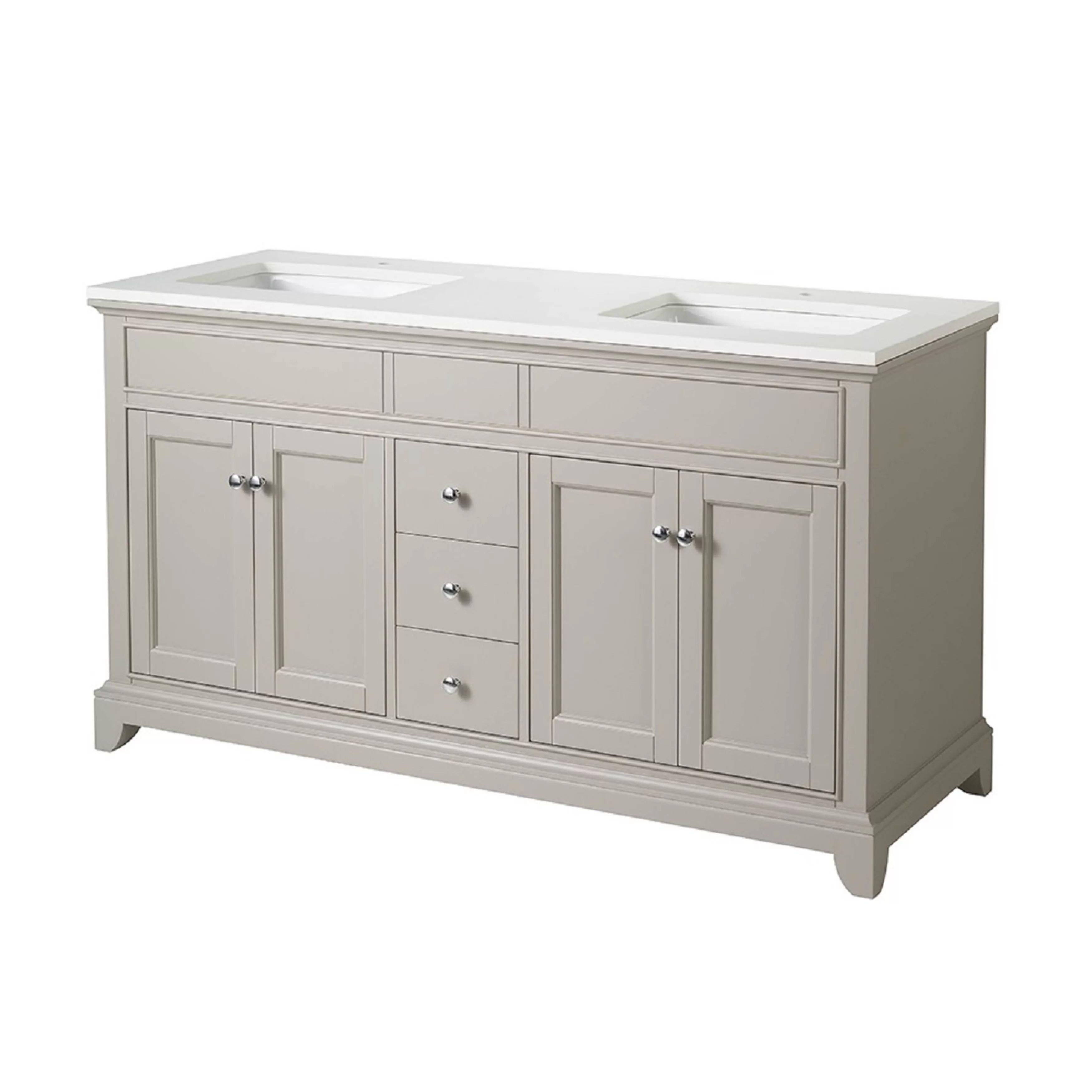 "dCOR design Leola 59"" Double Sink Bathroom Vanity Set"