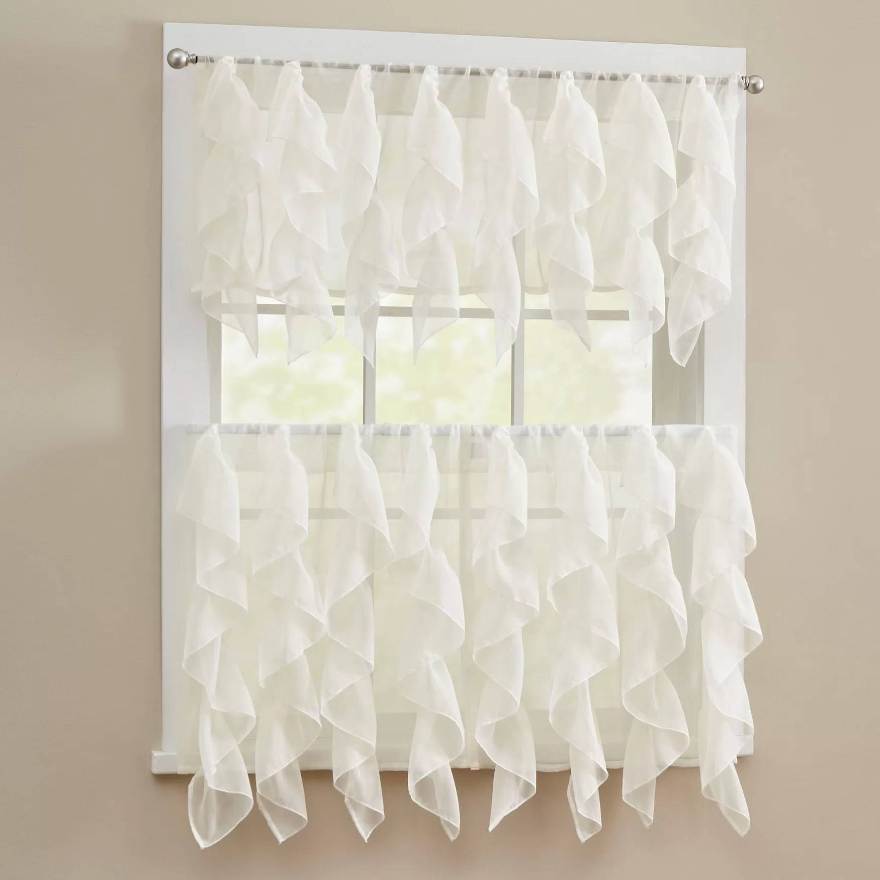 Sweet Home Collection Elegant Sheer Voile Vertical Ruffle