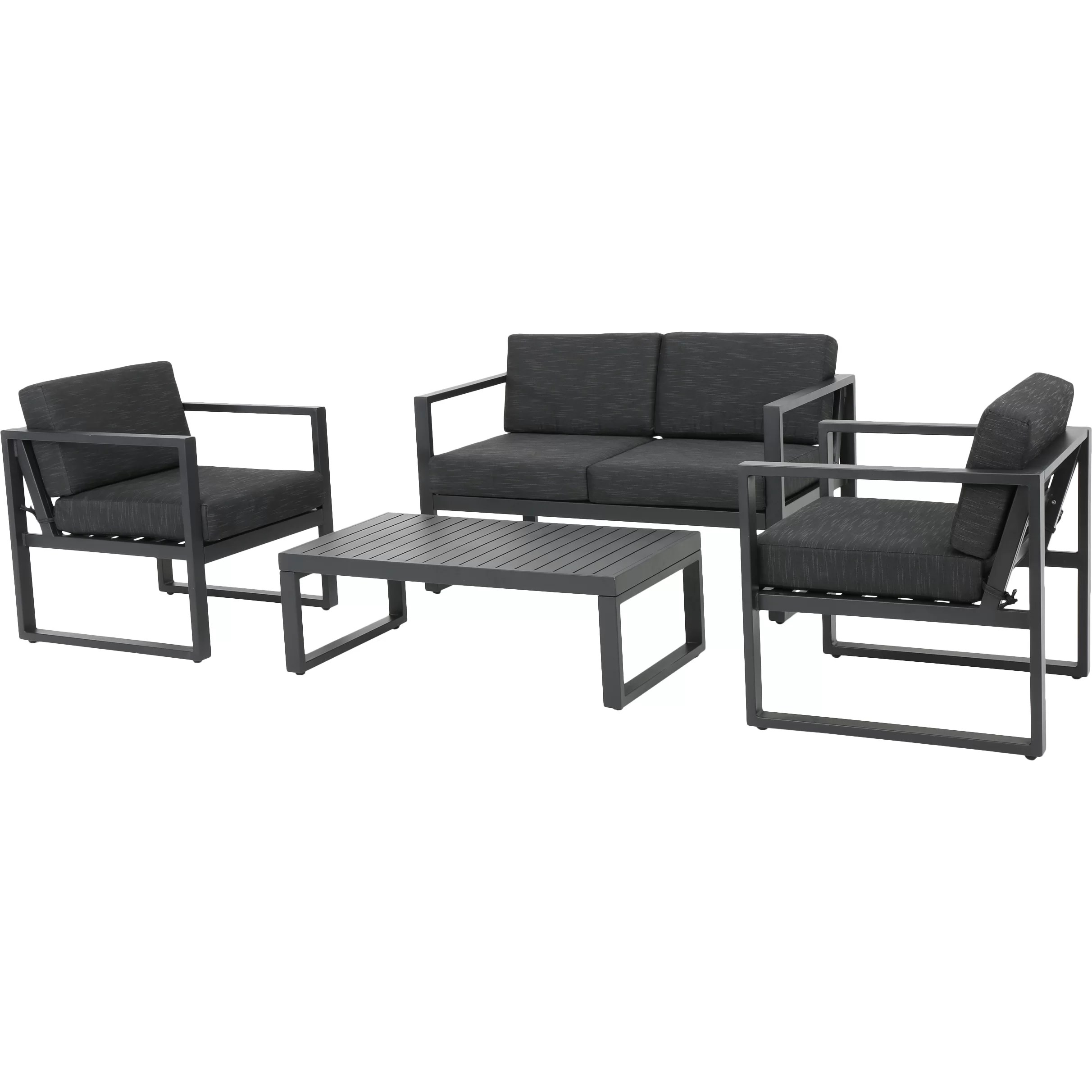 black aluminum outdoor sofa chaise lounge double bed mercury row acree 4 piece deep seating group with cushion