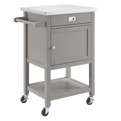 Kitchen Cart Stainless Steel Cabinets Los Angeles Mercury Row Aubuchon With Top