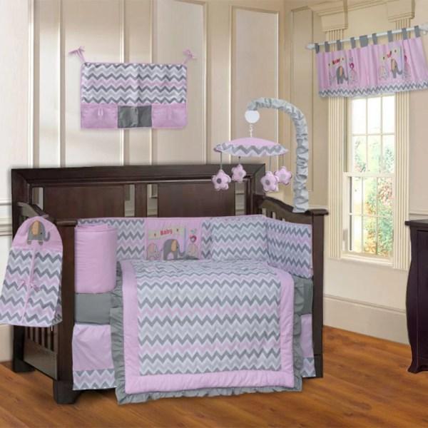 Babyfad Elephant Zigzag 10 Piece Crib Bedding Set &