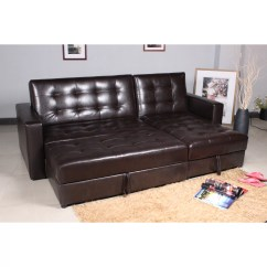 Faux Leather Sofa Bed With Storage Strong Beds Homcom Right Corner And Reviews Wayfair Uk