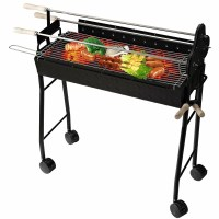 Homcom 33.5 cm Charcoal BBQ Trolley Charcoal Grill with 4