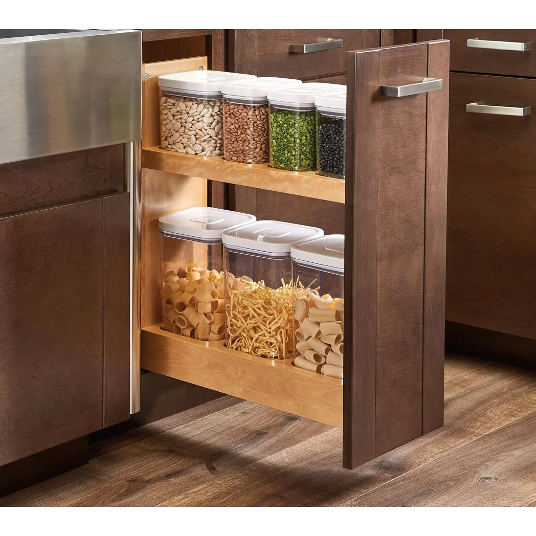 kitchen base cabinet pull outs inexpensive countertops options rev a shelf out wood oxo organizer wayfair