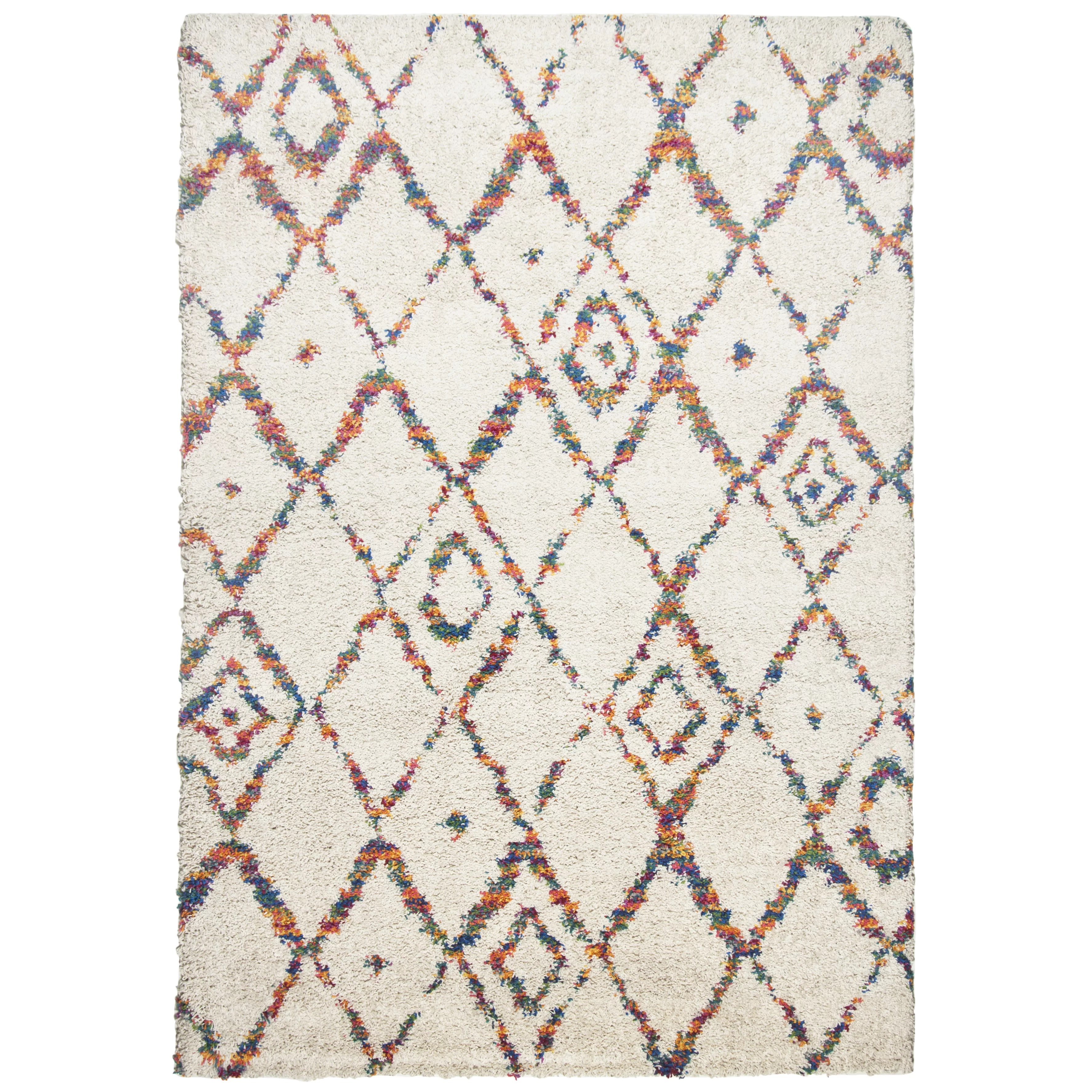 Hochflor Teppich Shaggy Flairy Theko Young Fashion White And Multi Coloured Rug Wayfair Uk
