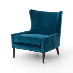 Blue Wing Chair Kitchen Table Covers For Sale Design Tree Home Velvet Marlow Wingback