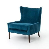 Design Tree Home Velvet Blue Marlow Wingback Chair ...