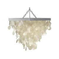 Kouboo 1 Light Capiz Seashell Rain Drop Pendant Lamp