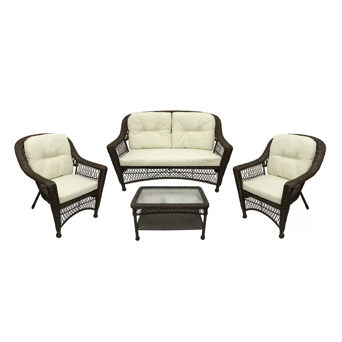 resin table and chairs set ergonomic chair new zealand northlight somerset 4 piece wicker patio loveseat