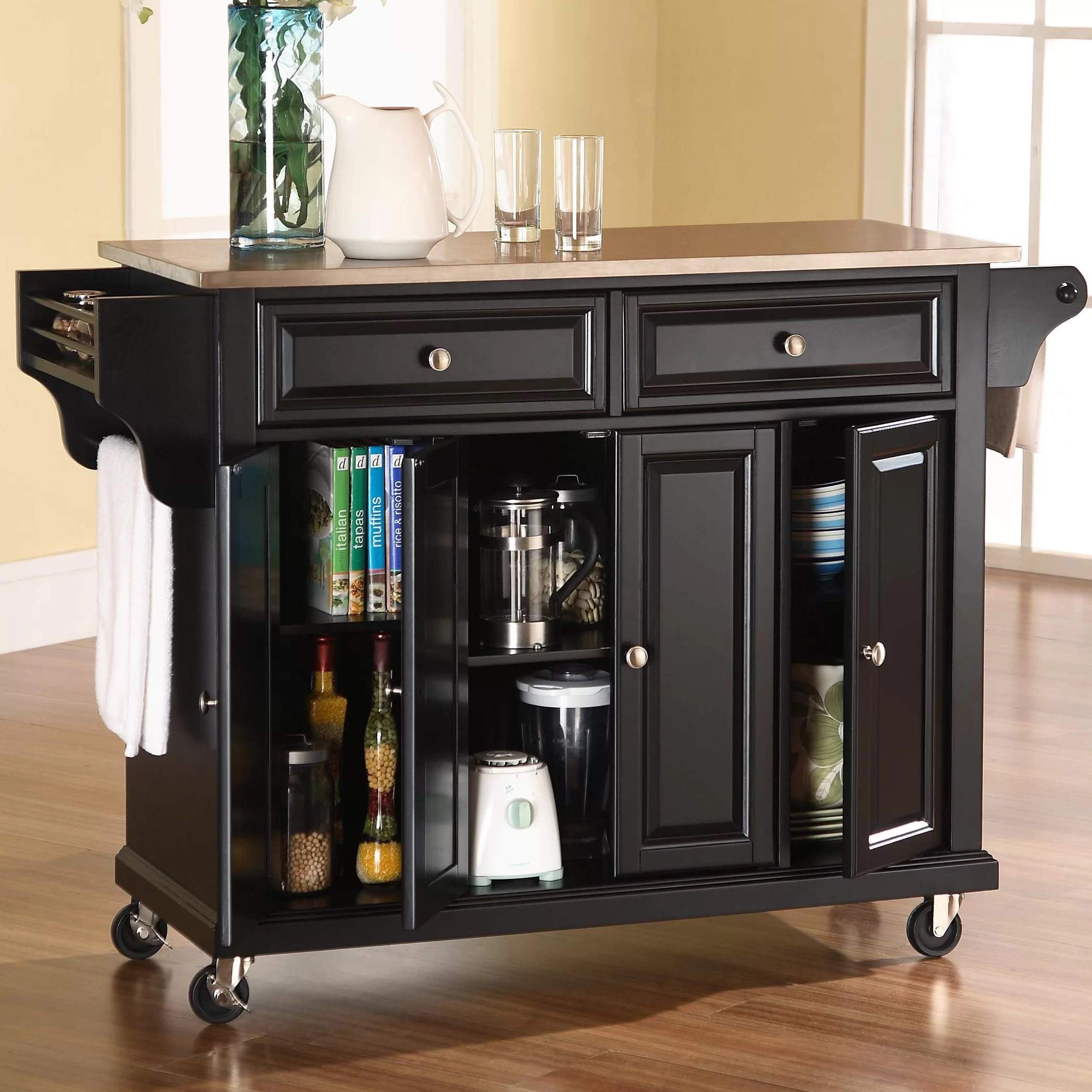 kitchen cart with stainless steel top greenery above cabinets darby home co pottstown island