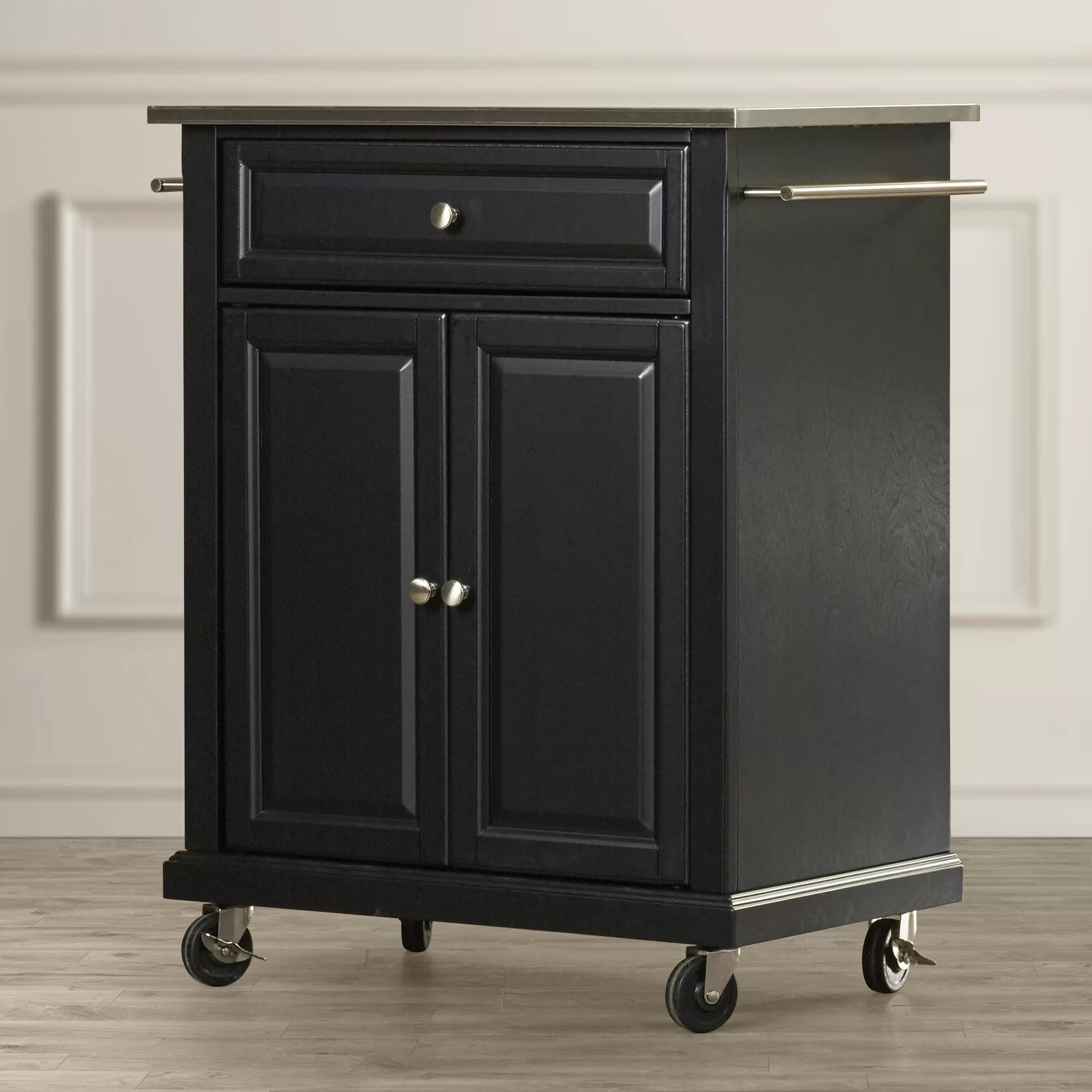 kitchen cart stainless steel counter options charlton home bainbridge with