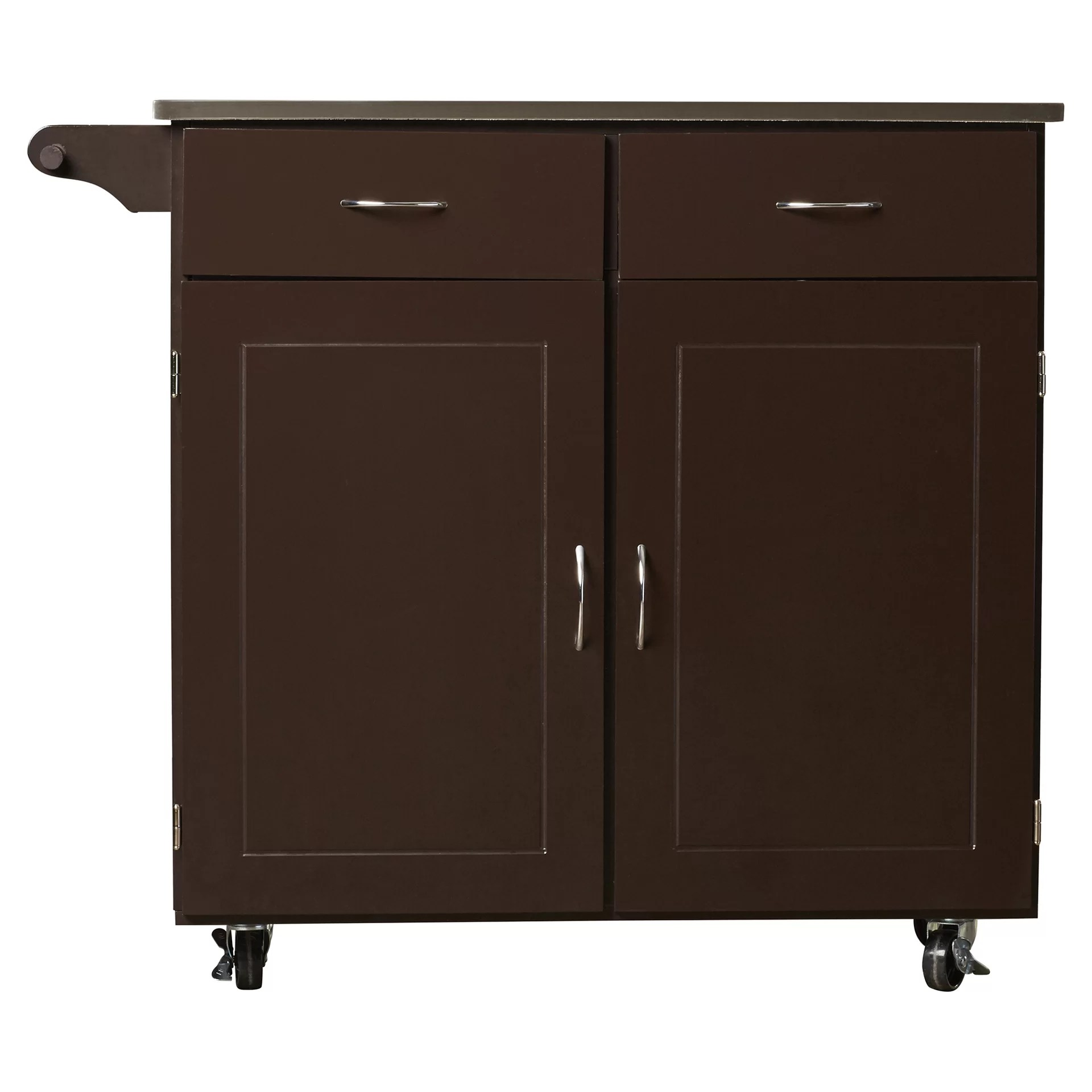 kitchen cart with stainless steel top reface depot brayden studio dayville large