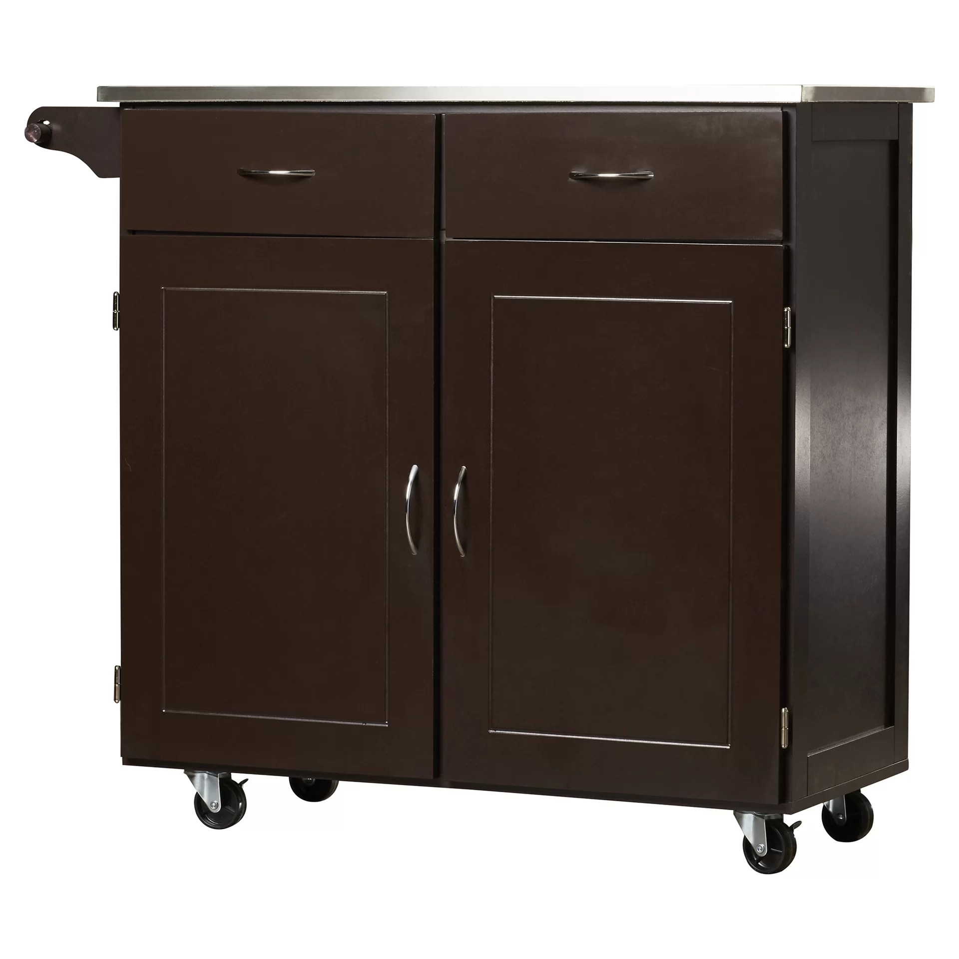stainless steel kitchen cart cabinets portland brayden studio dayville large with