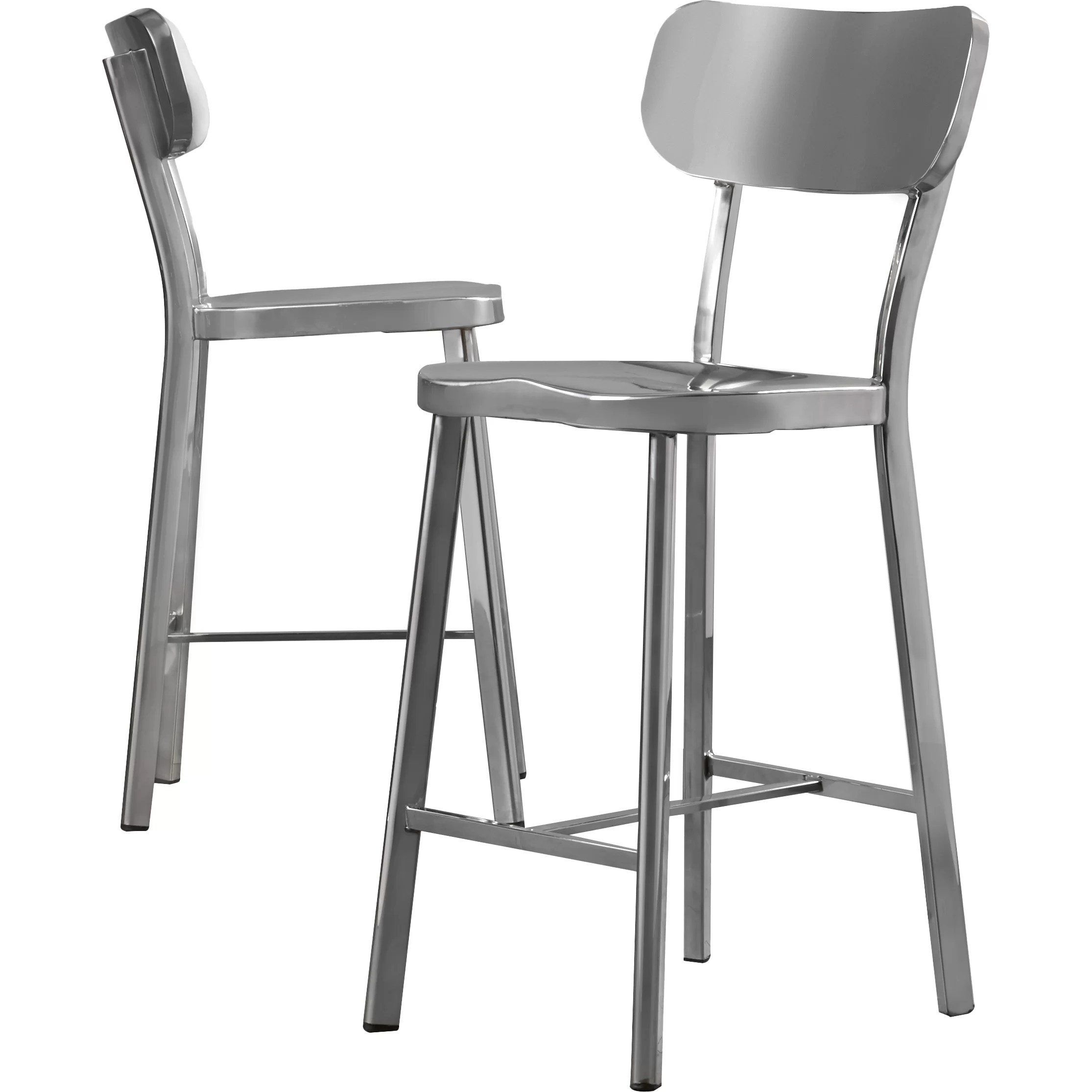 steel chair size rocking pads and cushions brayden studio rizzuto counter height stainless side