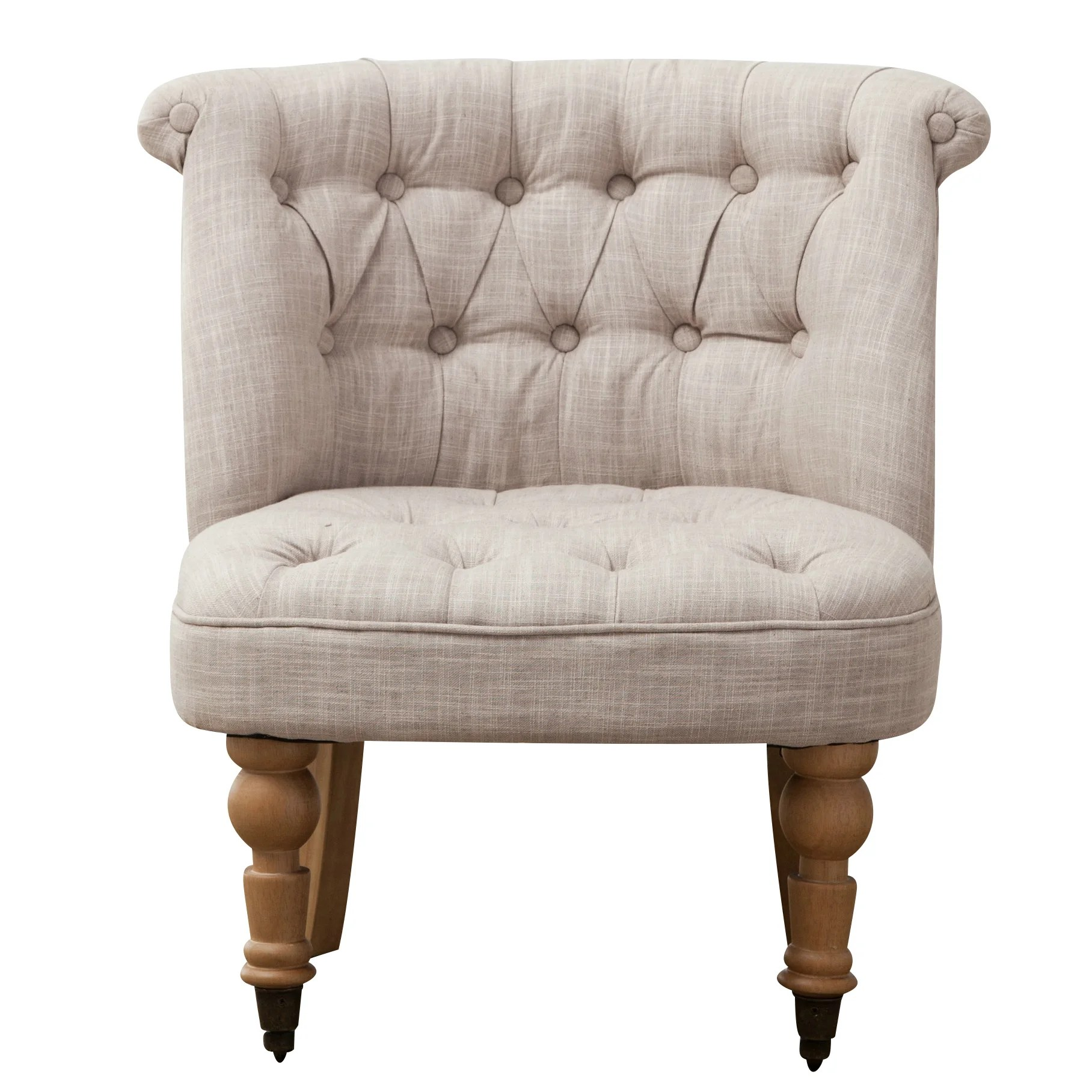 Tufted Slipper Chair Lark Manor Aurore Linen Tufted Wheeled Slipper Chair