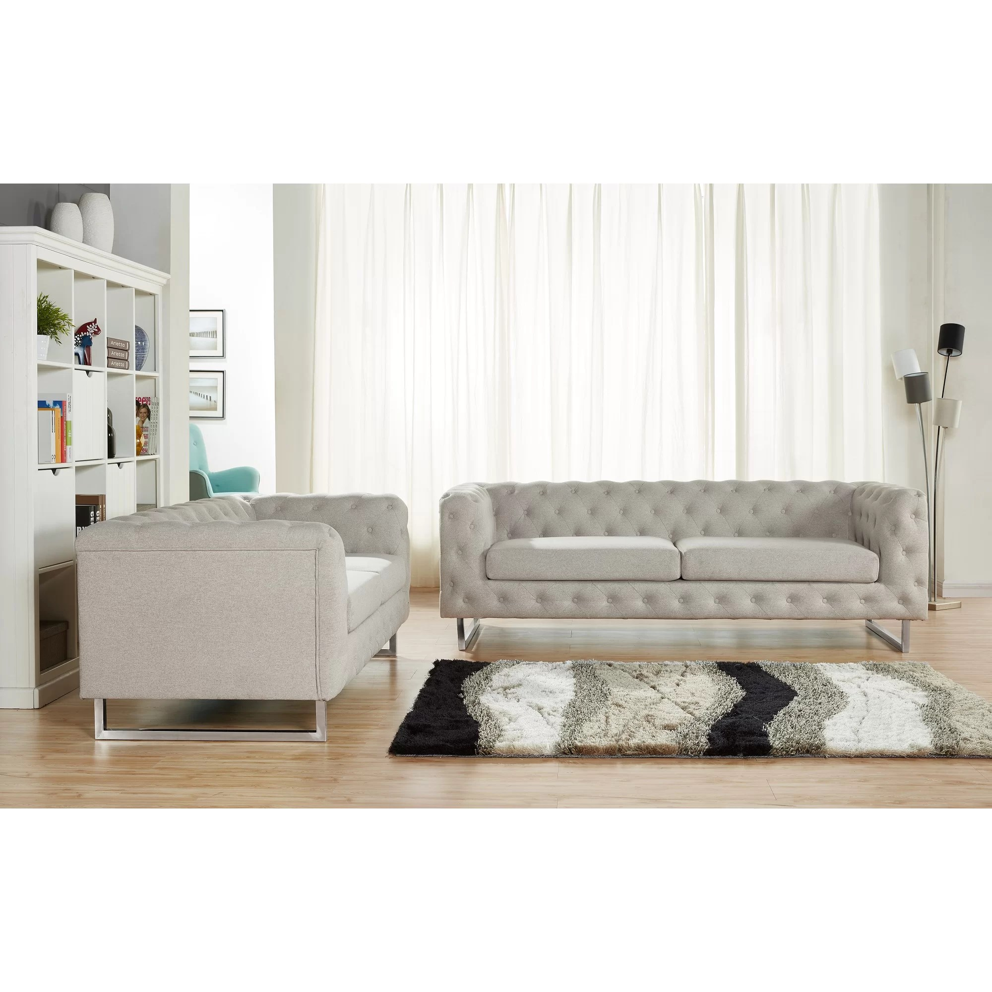 modern fabric sofa set bed home center abu dhabi container scroll 2 piece linen