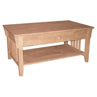 International Concepts Unfinished Wood Coffee Table ...