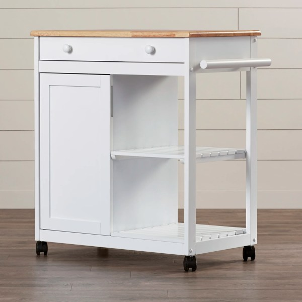 August Grove Allie Kitchen Cart With Wooden Top &