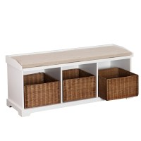 Beachcrest Home Lindell Wood Storage Entryway Bench ...