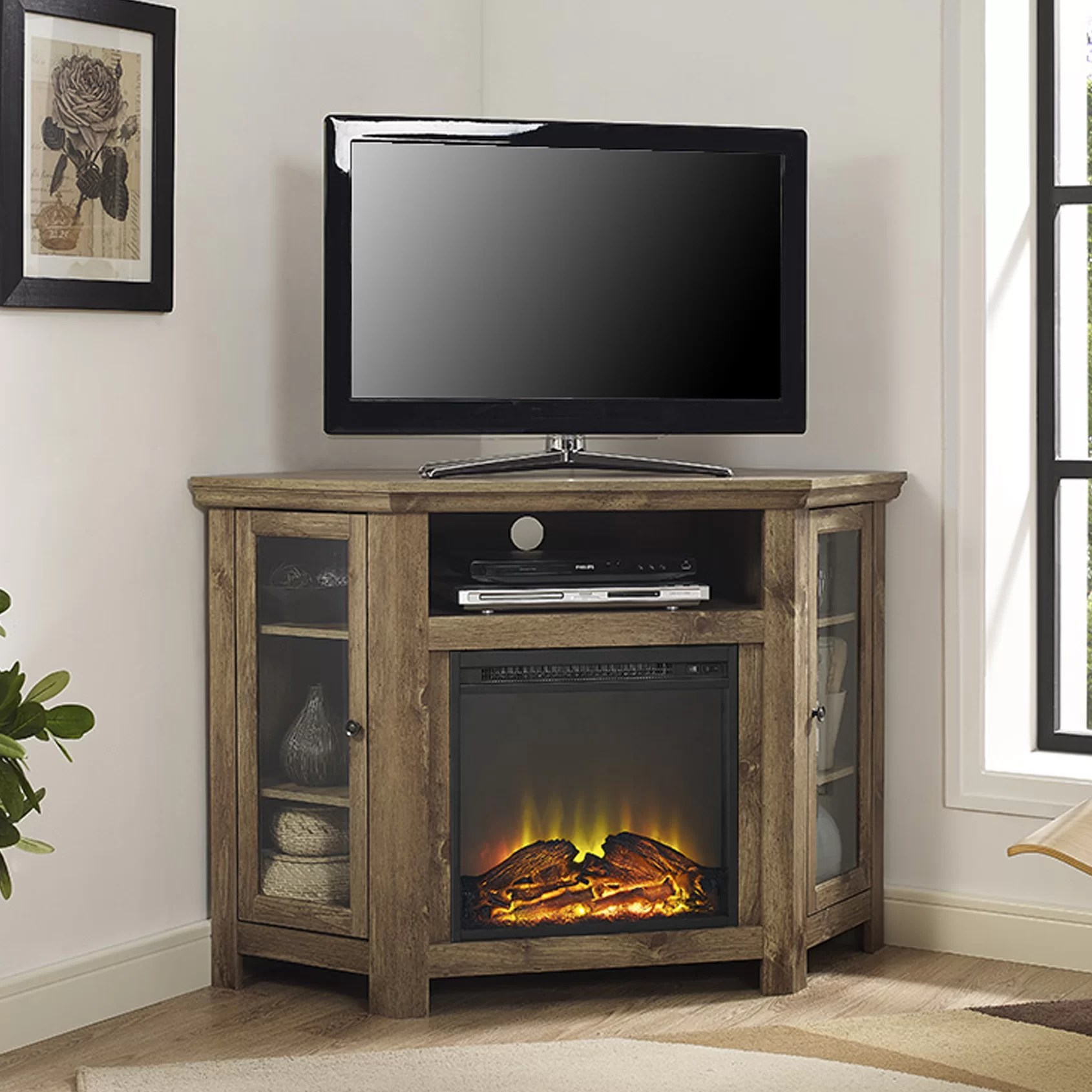 Loon Peak Pueblo Corner TV Stand with Electric Fireplace  Reviews  Wayfair