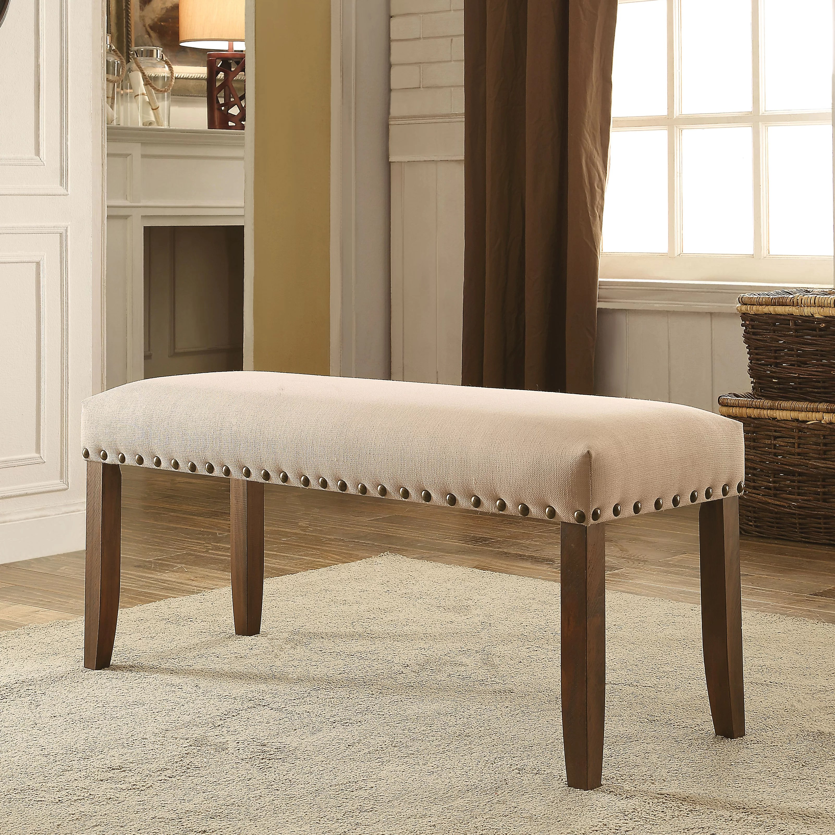 Upholstered Kitchen Chairs Loon Peak Holly Hills Upholstered Kitchen Bench Wayfair