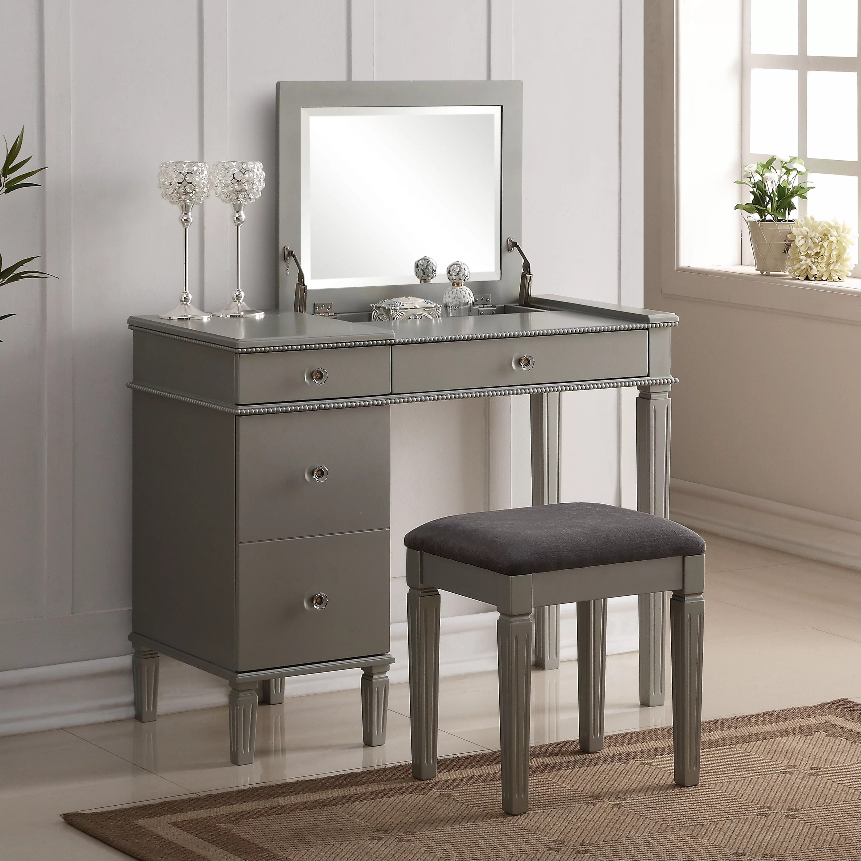House of Hampton 2 Piece Vanity Set with Mirror  Reviews