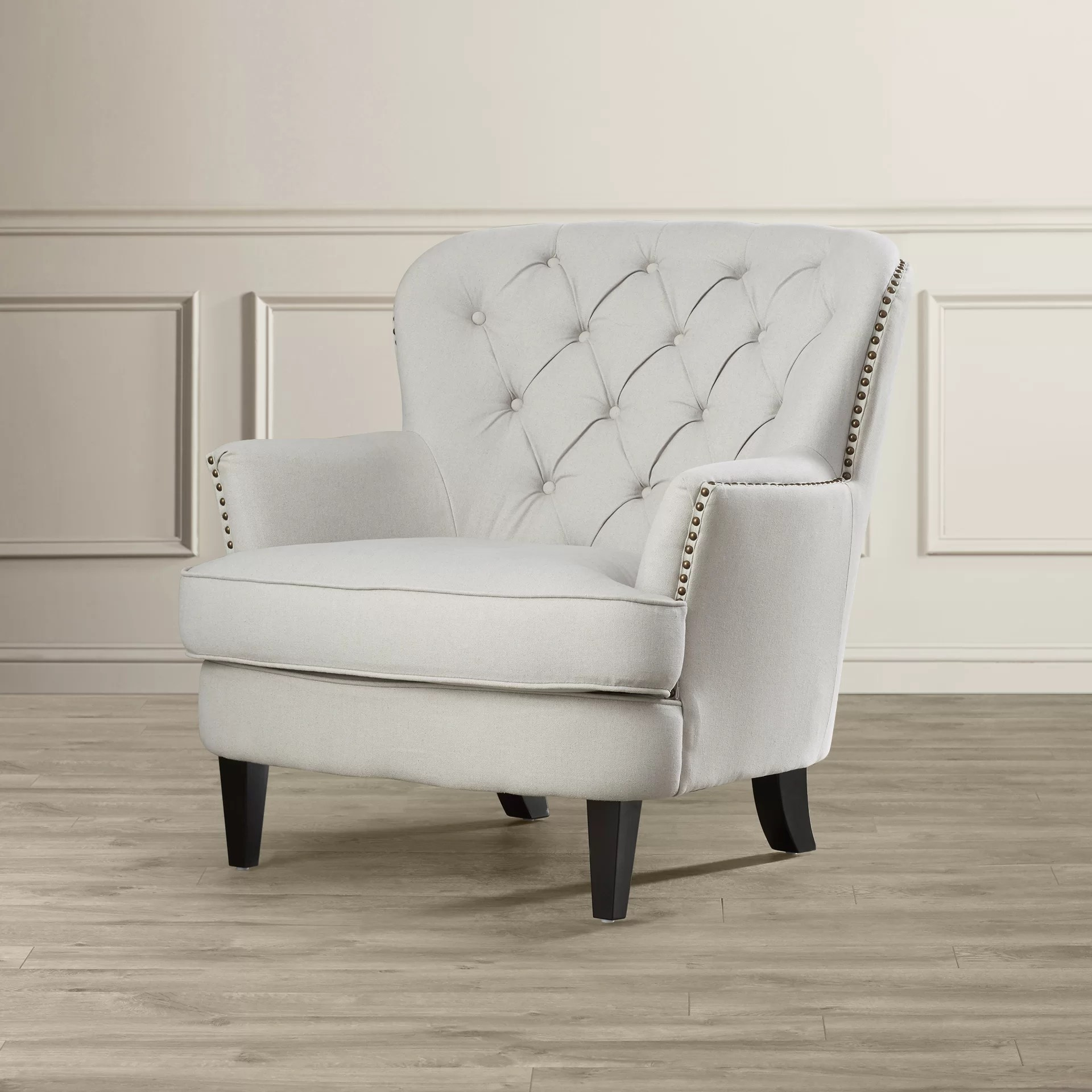Upholstered Club Chair House Of Hampton Greene Tufted Upholstered Linen Club