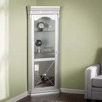 House of Hampton Harldson Mirrored Lighted Corner Curio
