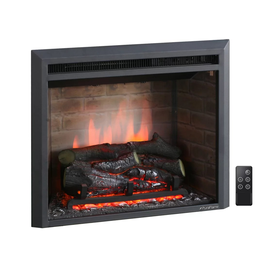 Puraflame 33 Black 7501500W Western Wall Mount Electric Fireplace Insert  Reviews  Wayfair