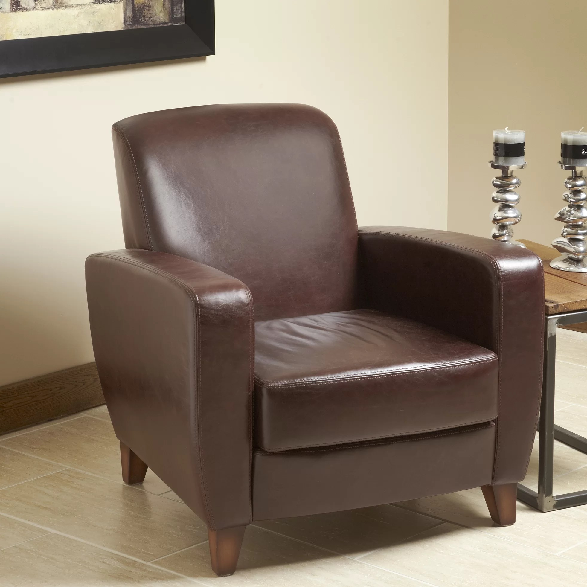 Top Grain Leather Club Chair Lind Furniture Modavi Top Grain Leather Club Chair Wayfair