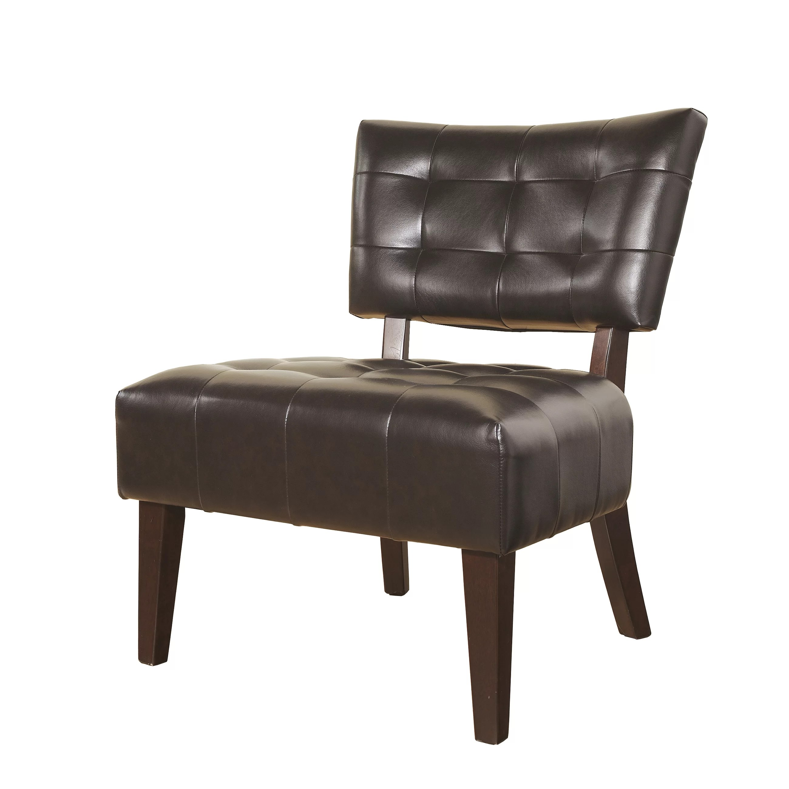 Large Accent Chairs Roundhill Furniture Anjotiya Faux Leather Tufted Chair