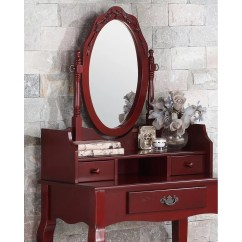 Vanity With Chair And Mirror Desk Mat Staples Roundhill Furniture Ribbon Wood Makeup Set