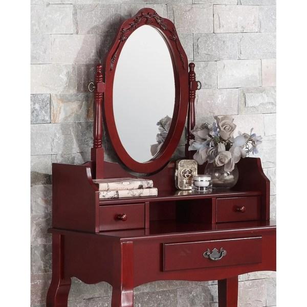 Roundhill Furniture Ribbon Wood Makeup Vanity Set With