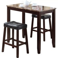 Roundhill Furniture 3 Piece Counter Height Pub Table Set ...