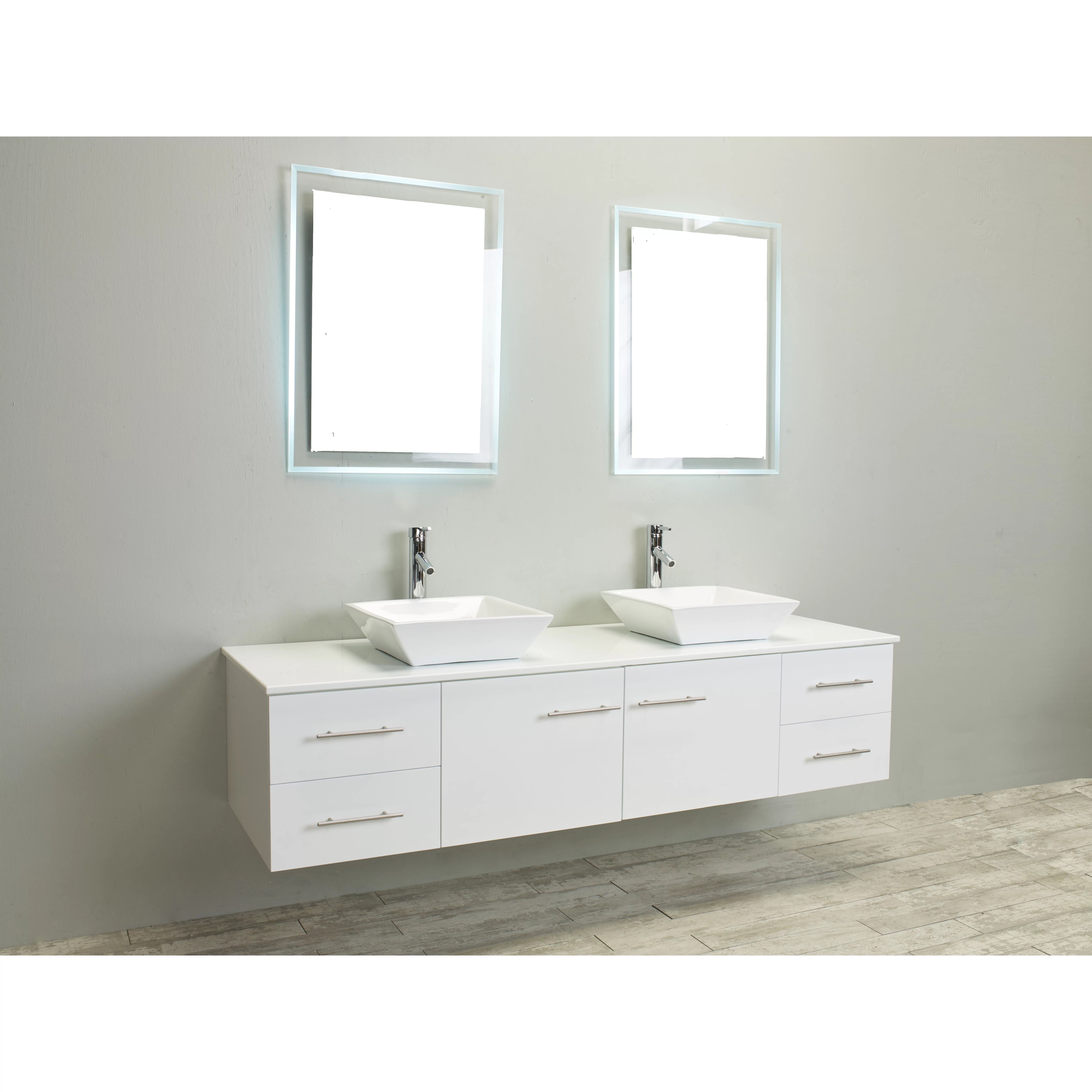 Eviva Totti Wave 72Inch White Modern Double Sink Bathroom