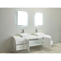 Eviva Totti Wave 60-Inch White Modern Double Sink Bathroom ...