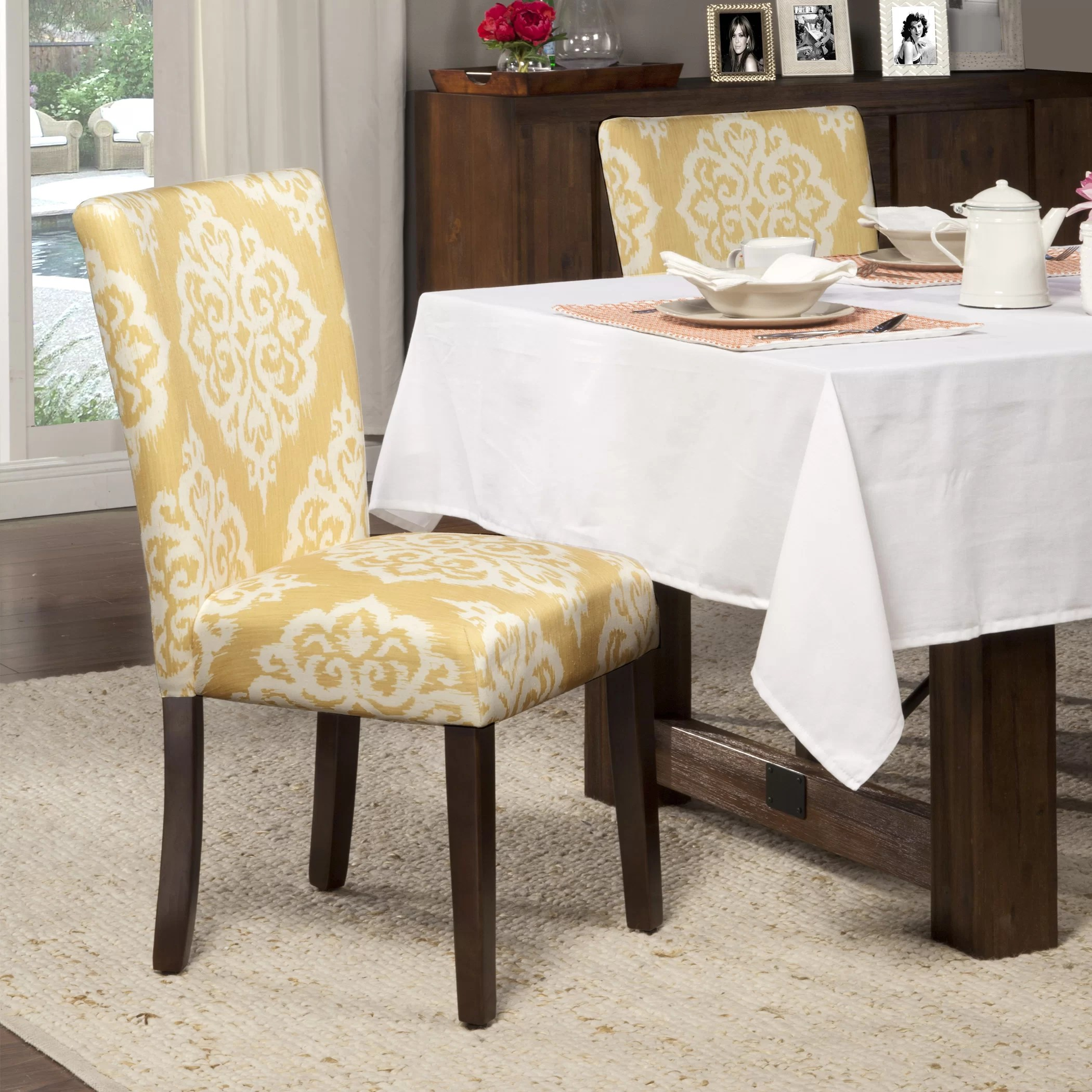 yellow parsons chair baby swing argos bungalow rose natane and cream damask