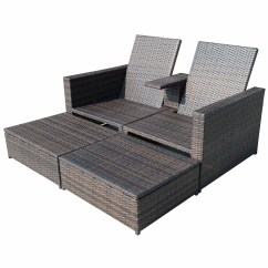 Double Lounge Chair Extra Large Occasional Chairs Outsunny 4 Piece Chaise With Cushion