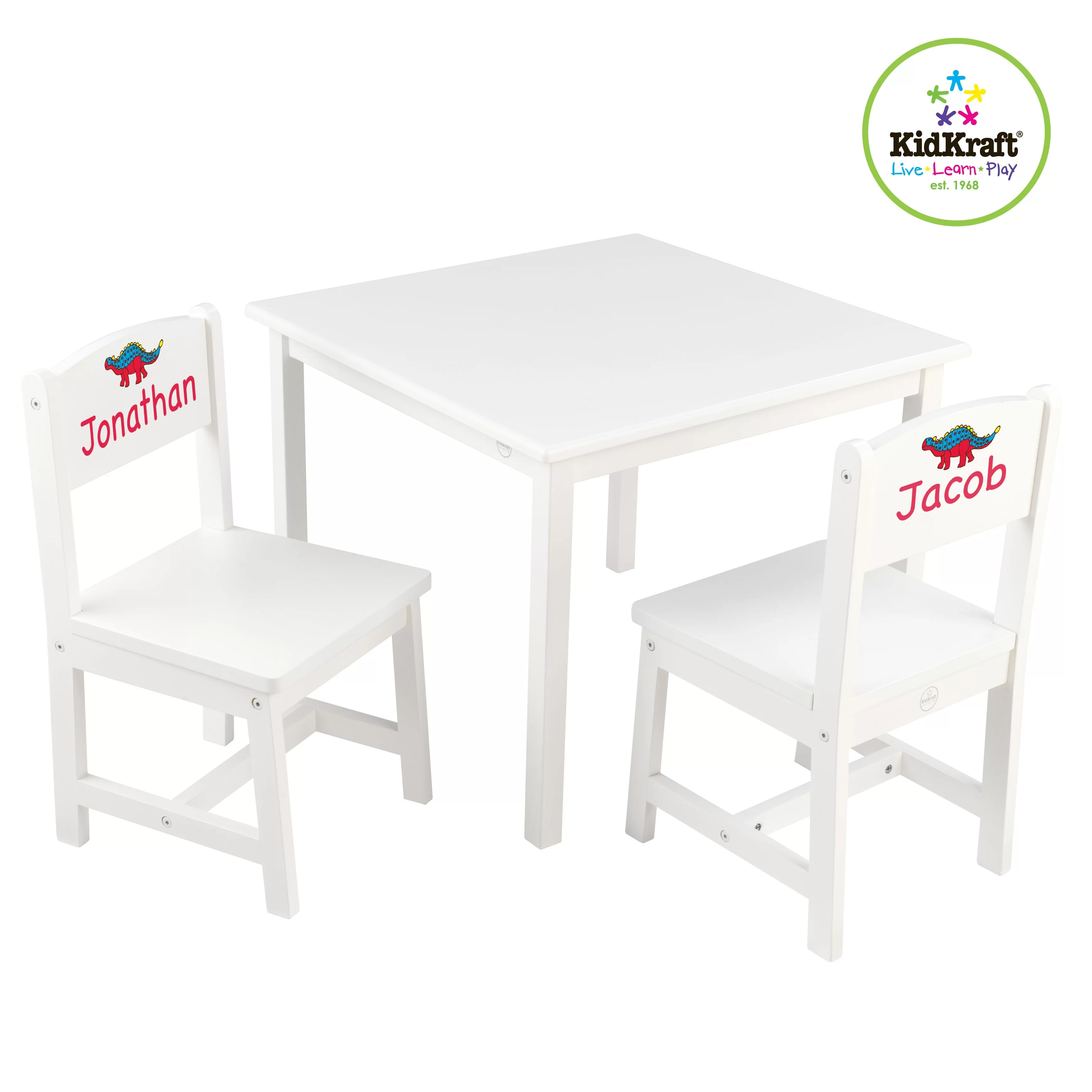kidkraft white table and chairs chair parts names personalized aspen kids 39 3 piece