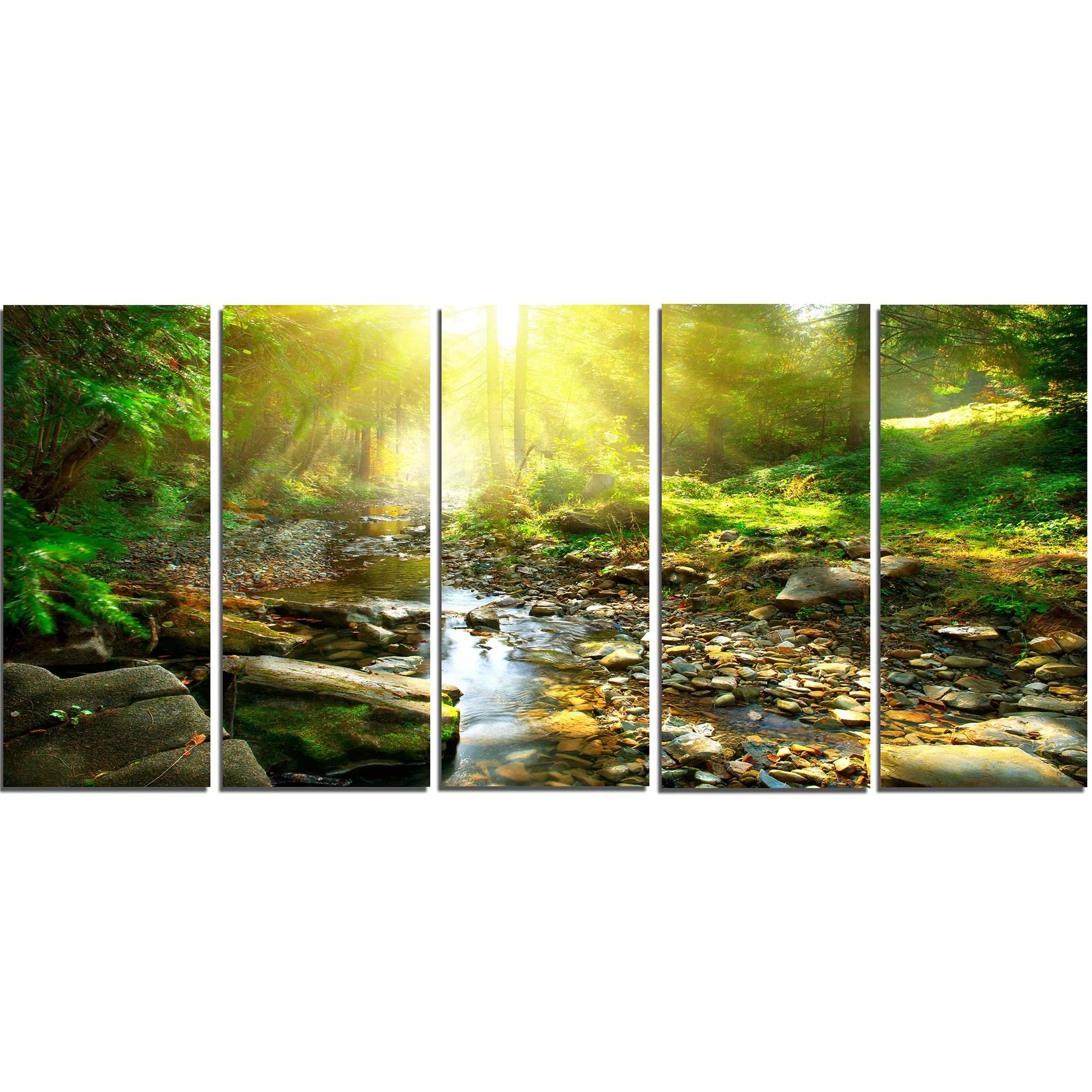DesignArt Mountain Stream in Forest 5 Piece Wall Art on