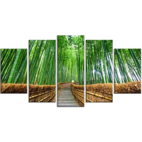 Designart 'path Bamboo Forest' 5 Piece Wall Art